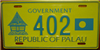 Republic of Palau Government License Plate