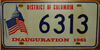 Washington D.C. John F. Kennedy Inaugural  License Plate
