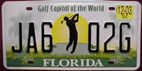 Florida Golf Capital License Plate