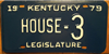 Kentucky House of Representatives Legislature License Plate