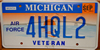 Michigan Air Force Veteran  License Plate