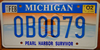 Michigan Pearl Harbor Survivor License Plate