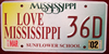 I Love Mississippi Sunflower School Mississippi License Plate