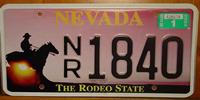 Nevada Rodeo License Plate
