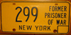 Ex/Former Prisoner of War (POW) New York License Plate