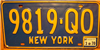 New York Vintage Blue License Plate