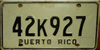 Puerto Rico Generic License Plate