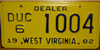 West Virginia Car Dealer License Plate
