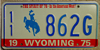 Wyoming American West Bicentennial License Plate